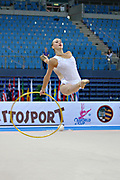 Rizatdinova Anna during final at hoop in Pesaro World Cup at Adriatic Arena on April 28, 2013. Anna was born July 16, 1993 in Simferopol, she is a Ukrainian individual rhythmic gymnast.