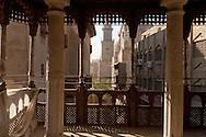Egypt . Cairo : Al Mu'izz li din Allah street and the minarets of the Bayn al Qasrayn     area,  mosques - BARQUQ, QALAWUN - view from the Sabil/Kuttab of al Amir Abdul Rahman Katkhuda in  islamic Cairo   NM21