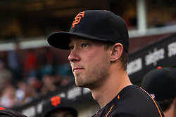SAN FRANCISCO, CA - APRIL 18: Trevor Brown #14 of the San Francisco Giants stands in the dugout before the game against the Arizona Diamondbacks at AT&T Park on April 18, 2016 in San Francisco, California. The Arizona Diamondbacks defeated the San Francisco Giants 9-7 in 11 innings.  (Photo by Jason O. Watson/Getty Images) *** Local Caption *** Trevor Brown