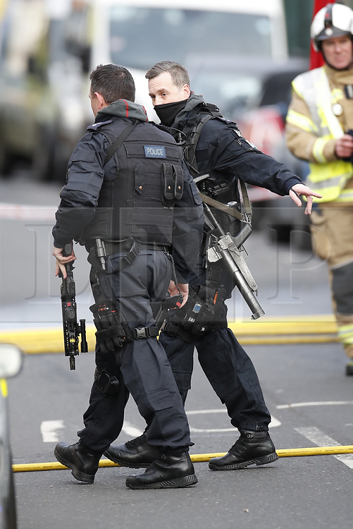 © Licensed to London News Pictures. 18/01/2019. London, UK. The scene near a residential address in Balham, south London where police are negotiating with a man who is inside the house with a knife. Photo credit: Peter Macdiarmid/LNP