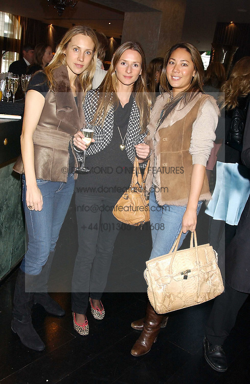 Left to right, JESSICA PETELIN, AMANDA CROSSLEY and ALISON CHOW at the 1st Baglioni Hotel's Designer Lunch featuring designs by Amanda Wakelel held at The Baglioni Hotel, 60 Hyde Park gate, London on 1st February 2006.<br />