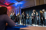 The Tempo Tantrums, Ohio University's female a cappella group, perform during the nineth annual Ava Nichols' Faculty Pageant.
