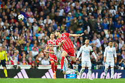 May 2, 2018 - Madrid, Spain - MADRID, SPAIN. May 1, 2018 - Javi Martinez jumps for the ball. With a 2-2 draw against Bayern Munchen, Real Madrid made it to the UEFA Champions League Final for third time in a row. Kimmich and James scored for the german squad while Karim Benzema did it twice for los blancos. Goalkeeper Keylor Navas had a great night with several decisive interventions. (Credit Image: © VW Pics via ZUMA Wire)