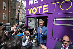 © Licensed to London News Pictures. 20/05/2016. London, UK.  UK Independence Party  leader Nigel Farage talks to reporters as he launches his EU referendum tour and bus. Campaigning by parties for and against the United Kingdom's membership of the European Union is well under way ahead of polling day on June 23, 2016. Photo credit: Peter Macdiarmid/LNP