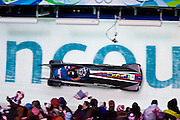 Saturday, Feb 20, 2010: Steven Holcomb pilots USA1, the Nighthawk, through the finish cruve with Curtis Tomasecivz on the brakes during their 2nd run  at the 2010 Olympic Bobsled Two-Man event at the Whistler Sliding Center in Whistler, BC, Canada. (Photo/Todd Bissonette).