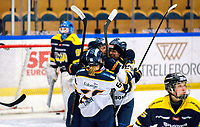 2018-03-14   Jönköping, Sweden: Djurgården Hockey celebrates after have been scoring during the quarterfinal game between HV71 and Djurgården Hockey at Kinnarps Arena ( Photo by: Marcus Vilson   Swe Press Photo )<br /> <br /> Keywords: Kinnarps Arena, Jönköping, SDHL, Hockey, HV71, Djurgården Hockey