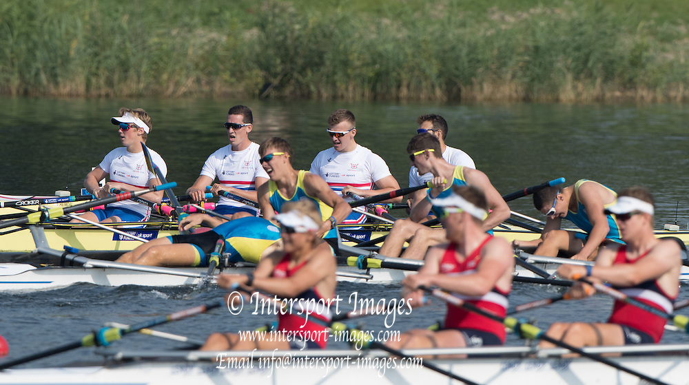 Rotterdam. Netherlands.    Quarter Final GBR JM4X Bow. Rotterdam. Netherlands.    Quarter Final GBR JM4X Bow. James MAWBY,  Thomas DIGBY, Josh ARMSTRONG, and Nick PLAUT, Rotterdam.  UKR JM4X Stroke collapses after the race, {WRCH2016}  at the Willem-Alexander Baan.   Friday  26/08/2016 <br /> <br /> [Mandatory Credit; Peter SPURRIER/Intersport Images]{