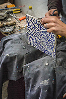 Traditional methods of Fez pottery making, Morocco.