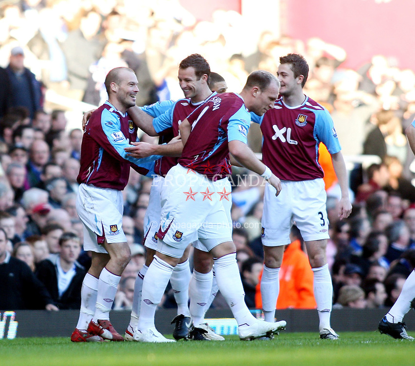 LONDON, ENGLAND - Saturday, February 9, 2008: West Ham United's Freddie Ljungberg celebrates scoring the first goal against Birmingham City during the Premiership match at Upton Park. (Photo by Chris Ratcliffe/Propaganda)