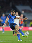 Twickenham, Great Britain, Yoann HUGET, kicking up field during the Six Nations Rugby England vs France, played at the RFU Stadium, Twickenham, ENGLAND. <br /> <br /> Saturday   21/03/2015<br /> <br /> [Mandatory Credit; Peter Spurrier/Intersport-images]