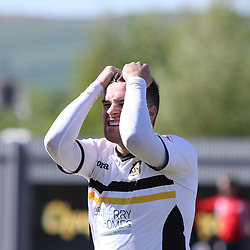 Lewis Vaughan cant believe he missed during the Dumbarton v Falkirk Scottish Championship 06 May 2017<br /> <br /> <br /> <br /> <br /> <br /> (c) Andy Scott | SportPix.org.uk