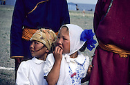 Mongolia. portrait of a young girl, life of nomads   Durgun Nuur Lake