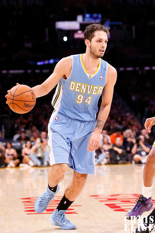 05 January 2014: Denver Nuggets shooting guard Evan Fournier (94) dribbles during the Denver Nuggets 137-115 victory over the Los Angeles Lakers at the Staples Center, Los Angeles, California, USA.