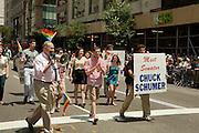 """U. S. Senator Charles E. """"Chuck"""" Schumer in the 2011 Pride Parade on New York's Fifth Avenue."""