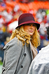 Jan 22, 2012; San Francisco, CA, USA; Sarah Harbaugh, wife of San Francisco 49ers head coach Jim Harbaugh (not pictured), on the field before the 2011 NFC Championship game against the New York Giants at Candlestick Park.  Mandatory Credit: Jason O. Watson-US PRESSWIRE