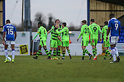 Goal scorer, Forest Green Rovers Marcus Kelly(10), is congratulated, 0-1 during the FA Trophy 2nd round match between Chester FC and Forest Green Rovers at the Deva Stadium, Chester, United Kingdom on 14 January 2017. Photo by Shane Healey.