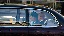 Westminster Abbey, London, March 14th 2016.  Her Majesty The Queen, Head of the Commonwealth, accompanied by The Duke of Edinburgh, The Duke and Duchess of Cambridge and Prince Harry attend the Commonwealth Service at Westminster Abbey on Commonwealth Day. PICTURED: The Queen and the Duke of Edinburgh arrive.