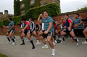 Photo: Richard Lane.<br /> New Zealand Maori training at Rugby School. Barclays Churchill Cup 2007. 21/05/2007.<br /> New Zealand Maori perform the Haka at the spot where William Webb-Ellis picked up the ball to create the game of Rugby Union.