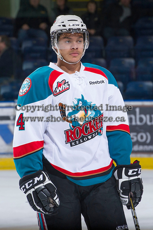 KELOWNA, CANADA - JANUARY 2: Madison Bowey #4 of the Kelowna Rockets stands on the ice against the  Victoria Royals at the Kelowna Rockets on January 2, 2013 at Prospera Place in Kelowna, British Columbia, Canada (Photo by Marissa Baecker/Shoot the Breeze) *** Local Caption ***