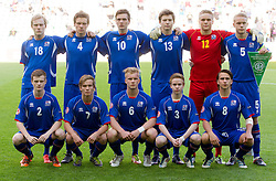 Team photo of Iceland: (standing row L-R) Dadi Bergsson of Iceland, Orri Sigurdur Omarsson of Iceland, Kristjan Floki Finnbogason of Iceland, Gunnlaugur Hlynur Birgisson of Iceland, Fannar Hafsteinsson of Iceland and Hjortur Hermannsson of Iceland, (first row L-R) Adam Orn Arnarson of Iceland, Evan Ingi Johannesson of Iceland, Emil Asmundsson of Iceland, Osvald Jarl Traustason of Iceland and Oliver Sigurjonsson of Iceland during the UEFA European Under-17 Championship Group A match between Iceland and Germany on May 7, 2012 in SRC Stozice, Ljubljana, Slovenia. Germany defeated Iceland 1-0. (Photo by Vid Ponikvar / Sportida.com)