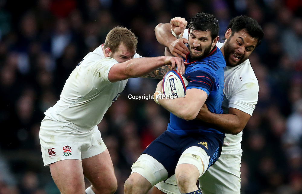 RBS 6 Nations Championship, Twickenham Stadium, London, England 21/3/2015<br /> England vs France<br /> England's Joe Marler and Billy Vunipola with Loann Goujon of France<br /> Mandatory Credit &copy;INPHO/James Crombie