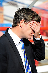 Bristol Rovers Manager, Darrell Clarke - Photo mandatory by-line: Neil Brookman - Mobile: 07966 386802 - 11/10/2014 - SPORT - Football - Aldershot - Recreation Ground - Aldershot Town v Bristol Rovers - Vanarama Football Conference