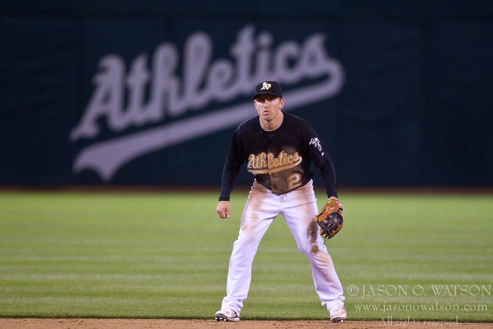 May 7, 2010; Oakland, CA, USA;  Oakland Athletics shortstop Cliff Pennington (2) during the eighth inning against the Tampa Bay Rays at Oakland-Alameda County Coliseum. Tampa Bay defeated Oakland 4-1.
