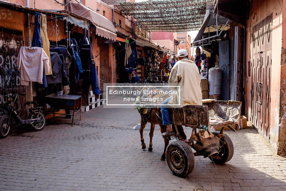 A Moroccan man in traditional dress drives his donkey and cart through the Medina in Marrakech, Morocco, North Africa<br /> <br /> <br /> (c) Andrew Wilson | Edinburgh Elite media