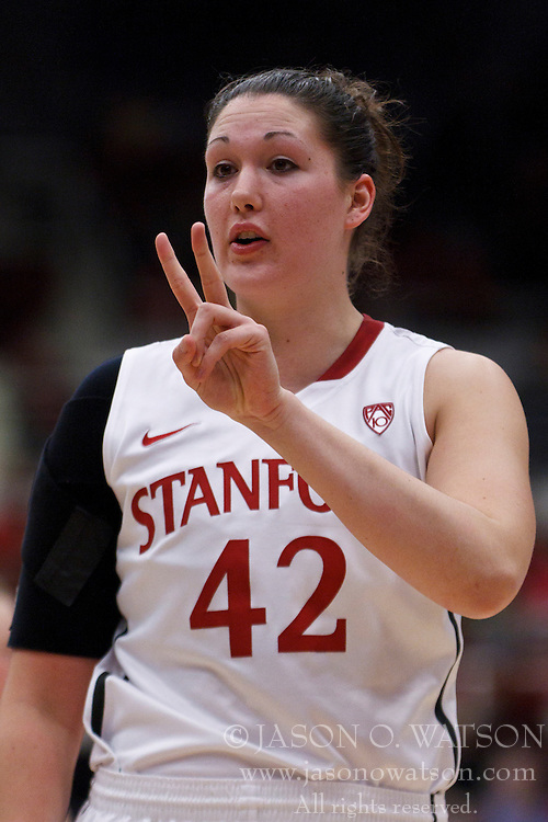 February 26, 2011; Stanford, CA, USA;  Stanford Cardinal forward/center Sarah Boothe (42) before a free throw against the Oregon Ducks during the first half at Maples Pavilion.  Stanford defeated Oregon 99-60.