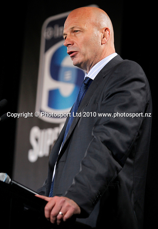 SANZAR CEO Greg Peters. 2011 Investec Super 15 New Zealand franchises rugby squad naming, Eden Park, Auckland, Wednesday 10 November 2010. Photo: Simon Watts/photosport.co.nz