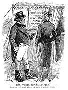 "The White House Mystery. Uncle Sam. ""Say, John, shall we have a dollar's worth?"" (John Bull and Uncle Sam read a sign Thought Reading - Special Feature - What Mr Wilson Means - Daily Seances 10 To 9 while at a fairground during WW1)"