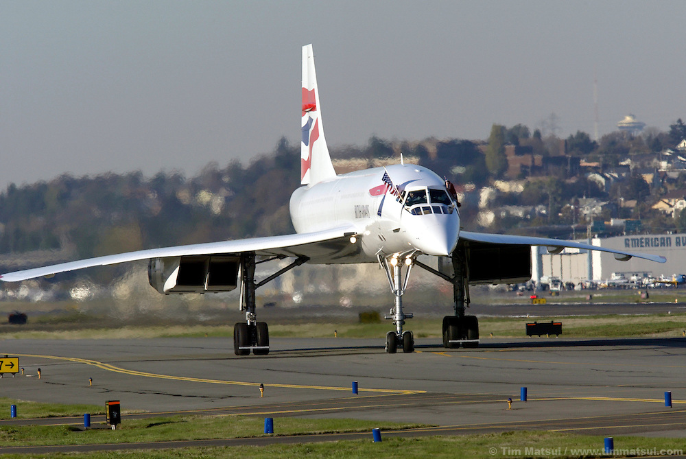 A British Airways Concorde passenger jet taxis down the runway at Boeing Field in south Seattle on Wednesday, November 5, 2003 in Seattle, Washington. This Concorde was donated after decommisioning by British Airways and is one of four outside of Europe and the only one on the west coast of the United States. The pilot, Cpt. Mike Bannister, broke the world speed record from New York to Seattle on this historic last flight with by going supersonic over Canada for a time of 3 hours, 55 minutes, and 12 seconds. (Photo by Tim Matsui/Getty Images)