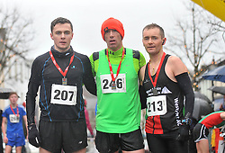 The first 3 across the line in the Streets of Westport 5K run on New Year's Day, 2nd Joe Hastings, 1st Declan Fahy 1st and 3rd Brendan Conway<br /> Pic Conor McKeown