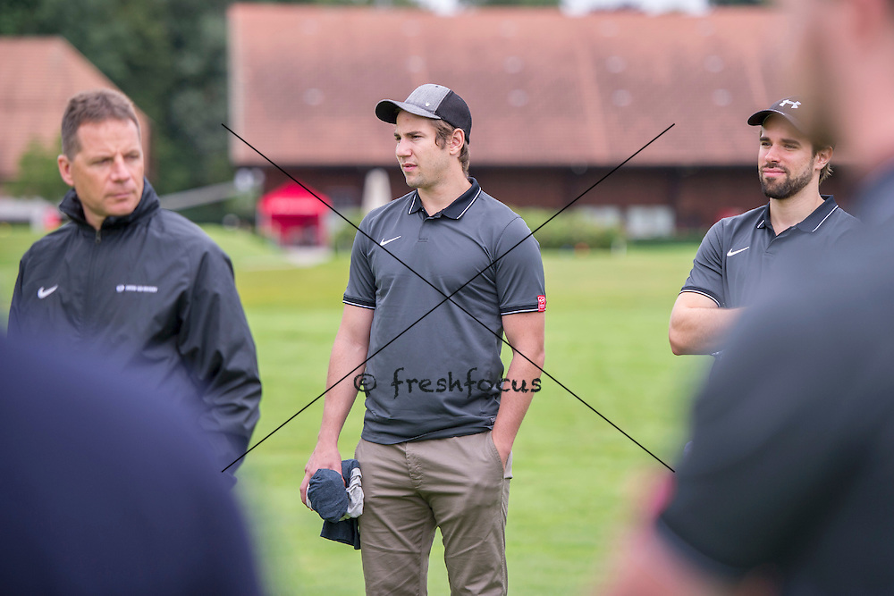 30.07.2014; Luterbach; Eishockey - Swiss Ice Hockey Golf Trophy 2014; Beat Frank, Simon Moser und Etienne Froidevaux (Claudia Minder/freshfocus)