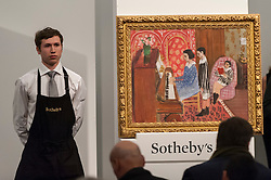"© Licensed to London News Pictures. 03/03/2016. London, UK.  Henri Matisse's ""La Leçon de piano"" (sold for a hammer price of £9.5m), at Sotheby's Impressionist, Modern & Surrealist art evening sales in New Bond Street.  The combined total of the sale was forecast to realise between £97-138m. Photo credit : Stephen Chung/LNP"