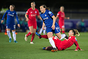 Chelsea Ladies (Fran Kirby (14) rides the tackle from Montpellier defender during the UEFA Women's Champions League quarter final second leg match between Chelsea Ladies and Montpellier Feminines at the Kings Sports Ground, New Malden, United Kingdom on 28 March 2018. Picture by Robin Pope.