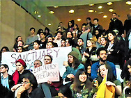 The Rally was held at the NYU Kimmel Center, and the rally is in support of the most vulnerable community members and to spread awareness about President Hamilton's deliberate choice to not declare NYU as a Sanctuary Campus-Credit: Mark Apollo/Hashtag Occupy Media