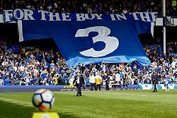 Everton fans hold up a banner before kick off  - Mandatory by-line: Matt McNulty/JMP - 12/08/2017 - FOOTBALL - Goodison Park - Liverpool, England - Everton v Stoke City - Premier League