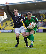 Dundee's Steven Milne and Livingston's Andrew McNeil - Livingston v Dundee, IRN BRU Scottish Football League, First Division - ..© David Young - .5 Foundry Place - .Monifieth - .Angus - .DD5 4BB - .Tel: 07765 252616 - .email: davidyoungphoto@gmail.com.web: www.davidyoungphoto.co.uk