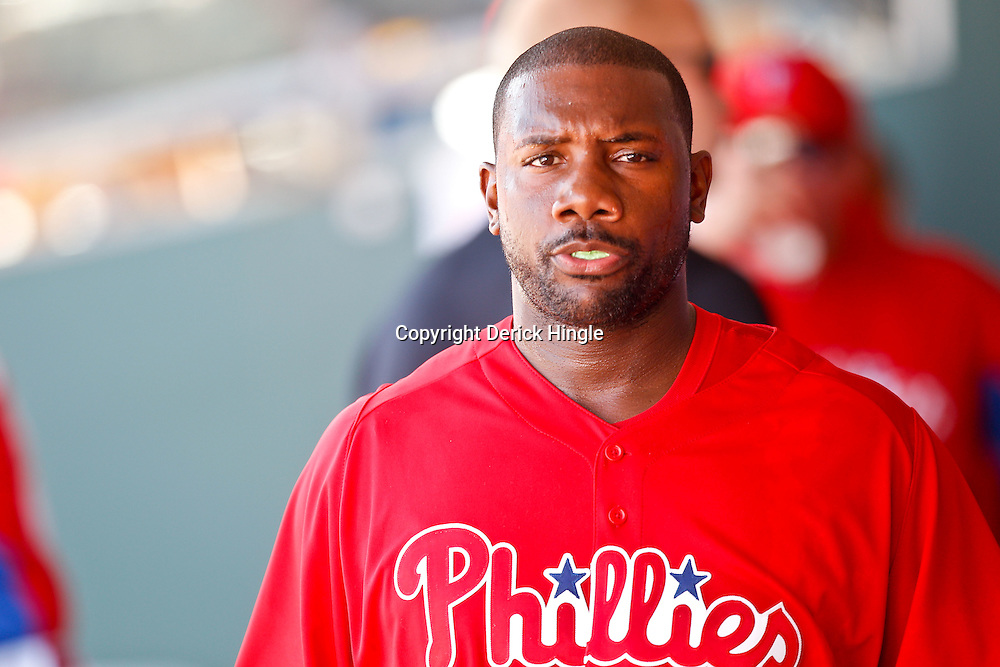 February 24, 2011; Clearwater, FL, USA; Philadelphia Phillies first baseman Ryan Howard (6) during a spring training exhibition game against Florida State University at Bright House Networks Field. Mandatory Credit: Derick E. Hingle