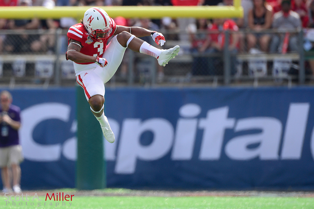 Nebraska Cornhuskers safety Daimion Stafford (3) celebrates  a play against the Georgia Bulldogs in the Capital One Bowl at the Florida Citrus Bowl on Jan 1, 2013 in Orlando, Florida. ..©2012 Scott A. Miller..