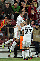 Players of Manchester United celebrate after the first goal during the UEFA Champions League, Group H, soccer match against CFR Cluj, at Dr. Constantin Radulescu Stadium in Cluj-Napoca, Romania, 2 October 2012.