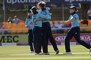 WICKET -  England celebrate first wicket during the Royal London Women's One Day International match between England Women Cricket and Australia at the Fischer County Ground, Grace Road, Leicester, United Kingdom on 4 July 2019.