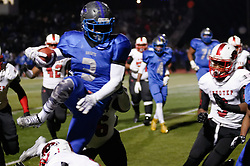 In the PIAA State Championship Imhotep Panthers advance to the Semi Finals with a 46-16 win over Academy Park Knights. (photo by Bastiaan Slabbers)<br /> <br /> Knight #3 works his way towards the end zone in what would lead to a TD for the Knights.
