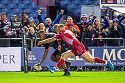 Eroni Sau (#14) of Edinburgh Rugby scores the final try of the game during the Guinness Pro 14 2019_20 match between Edinburgh Rugby and Scarlets at BT Murrayfield Stadium, Edinburgh, Scotland on 26 October 2019.