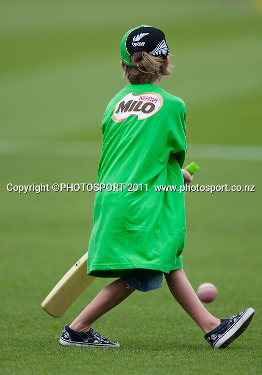 MILO kids cricket during the dinner break of the 5th ODI, Black Caps v Pakistan, One Day International Cricket at Seddon Park, Hamilton, New Zealand. Thursday 3 February 2011. Photo: Stephen Barker/PHOTOSPORT