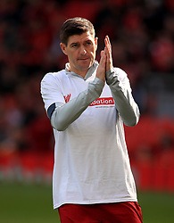 Liverpool's Steven Gerrard warms up before the Legends match at Anfield Stadium, Liverpool.