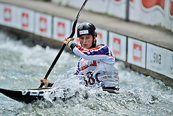 30.06.2013, Eiskanal, Augsburg, GER, ICF Kanuslalom Weltcup, Finale Kajak Teams, Frauen, im Bild Mallory FRANKLIN (Grossbritannien), Finale, Team, Kajak, K1, Teams, Frauen, England // during final of the women's kayak team of ICF Canoe Slalom World Cup at the ice track, Augsburg, Germany on 2013/06/30. EXPA Pictures © 2013, PhotoCredit: EXPA/ Eibner/ Matthias Merz<br /> <br /> ***** ATTENTION - OUT OF GER *****