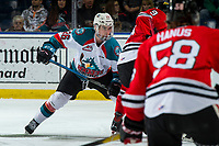 KELOWNA, CANADA - MARCH 3: Liam Kindree #26 of the Kelowna Rockets lines up against the Portland Winterhawks  on March 3, 2019 at Prospera Place in Kelowna, British Columbia, Canada.  (Photo by Marissa Baecker/Shoot the Breeze)