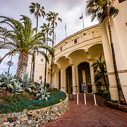 Avalon Casino entrance on Catalina Island photo. The Avalon Casino is a historic art deco movie theatre built in 1929 by the Wrigley family. Catalina Island is a popular travel desination off the coast of Southern California in the United States.